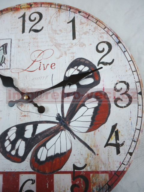 Nástěnné hodiny - motýl